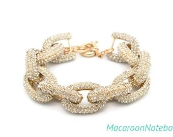 Pave Bracelet - Chunky Gold Sparkly Bracelet