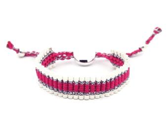 Link Friendship Bracelet - Pink Silver Strips - (One Direction)