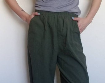 4377b765062 Vintage Army Green Cotton Linen Joggers