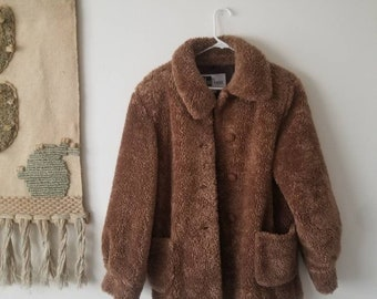 VTG 90s STYLE SHEEP TEDDY BEAR BORG SHERPA  COAT JACKET  WOMENS 12 New