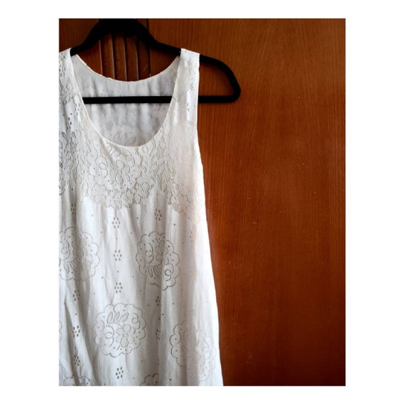Dreamy 90s White Lace Sleeveless Bias Cut Maxi Dre