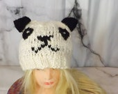 Knit Panda Beanie, White ...