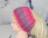 Messy Bun Hat, Multicolor...