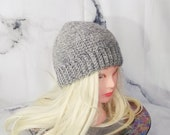 Grey Wool Beanie, Crochet...