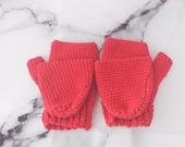 Red Merino Wool Flip-Top ...