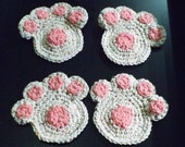 Set of 4 Dog Paw Coasters...