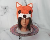 Fox Beanie, Orange and Wh...