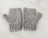 Grey Wool Fingerless Glov...