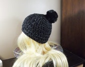Black Beanie with PomPom,...