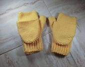 Yellow Fingerless Gloves,...