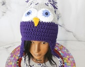 Owl Beanie, Purple and Gr...