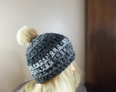Grey Beanie with PomPom, ...