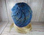 Blue Knit Swirl Beanie, W...