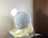 Grey Beanie with White Po...