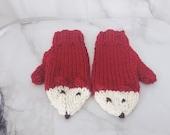 Hand Knit Fox Mittens, Ad...