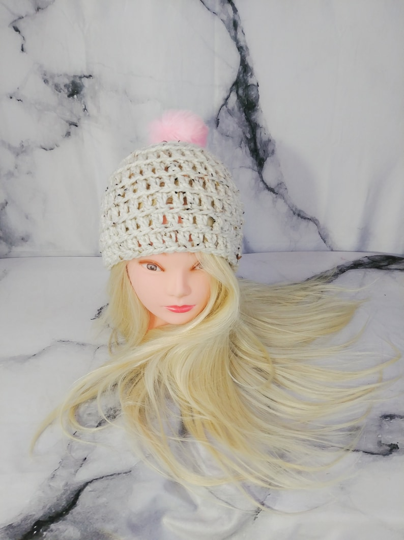 67ac9e59403 Tweed Beanie with Pink PomPom Off-white Toque with Faux Fur