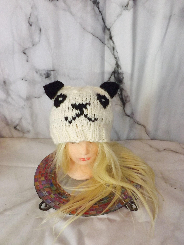77ad97da985 Knit Panda Beanie White and Black Panda Toque Funny Animal