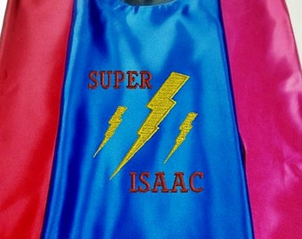 Girls Cape Monogram Lightning Bolt Superhero Cape Purple  Embroidered Personalized Super Hero kid/'s Cape