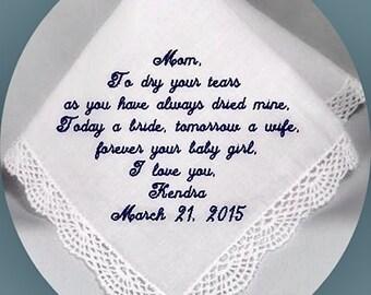 Mother of the  Wedding  Handkerchief  Heirloom Embroidered, Personalized Hanky, Gift, Handkerchief