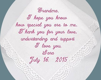 Grandmother of the  Bride or Groom Heirloom Embroidered, Personalized Hanky, Gift, Handkerchief