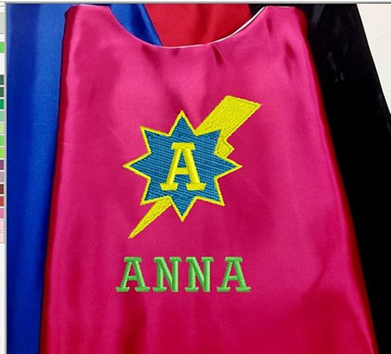 Embroidered Lightning Bolt Star Cape Girls Cape Personalized with Name Super Hero Cape