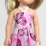 Pink Butterfly Sundress - Made to Fit 14.5 Inch Dolls Like WW Doll Clothes