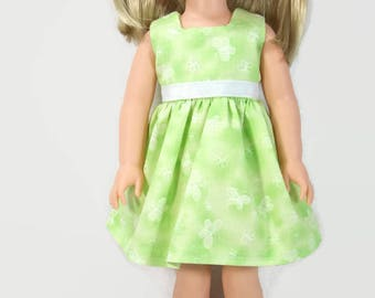 14.5 Inch Doll Clothes - Pastel Celery Green Dress with Butterflies for 14.5 Inch Dolls - Made to Fit Like Wellie Wisher Doll Clothes