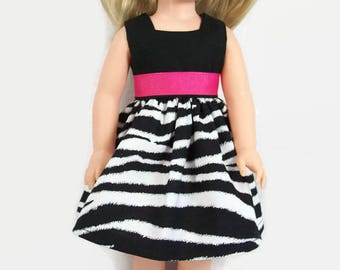 "Black and White Zebra-Print Dress with Pink Trim for 14.5"" Dolls - Made to Fit Like Wellie Wisher Doll Clothes"
