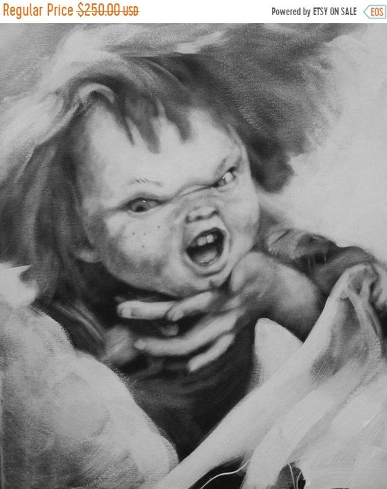 SALE Chucky Original 20x16 Acrylic Painting image 0