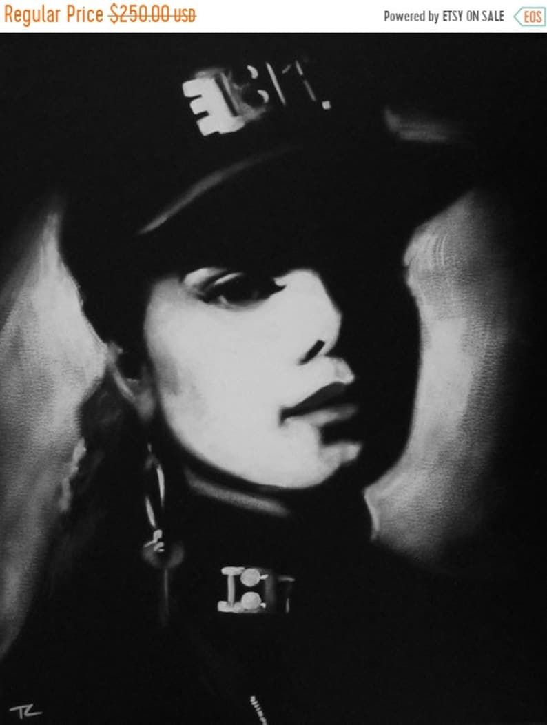 SALE Janet Jackson Black and White Portrait Art Original image 0