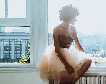 the layered tulle skirt   Champagne Knee Length Tulle Skirt, Engagement Tulle Skirt