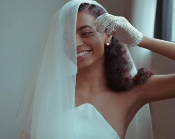 Elbow Length Veil | blusher wedding veil, raw edge veil, short wedding veil, modern bride, drop veil