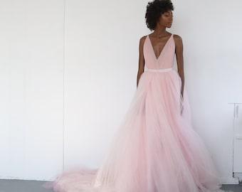 the tulle wedding skirt   Pale Pink Tulle Wedding Skirt, Bridal Separates
