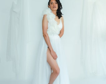the high-split maxi tulle skirt   White Tulle Wedding Skirt, Bridal Separates