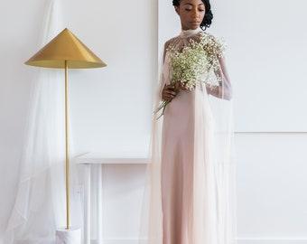 the high-neck tulle bridal cape   Champagne Bridal Cloak, Wedding Cape, Bridal Cape
