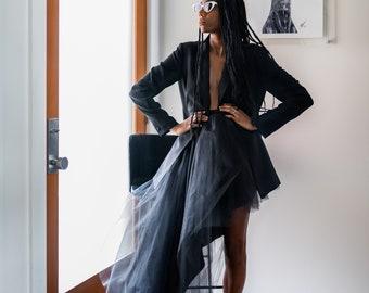 the asymmetrical tulle skirt   Black High Low Tulle Skirt,  Engagement Tulle Skirt