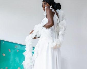 the wedding tulle boa   Ivory Tulle Bridal Cover, Vegan Boa
