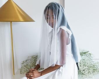 the elbow length veil | Blusher Wedding Veil, Raw Edge Veil