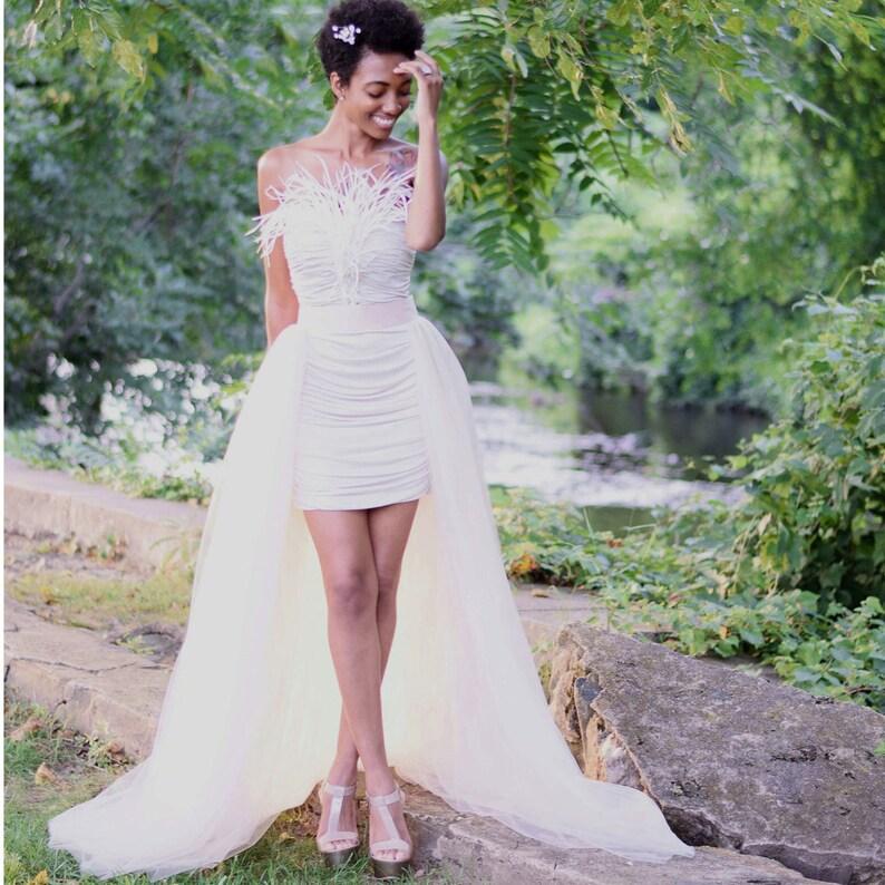 3428eb97e7 Tulle Overskirt champagne wedding skirt detachable train