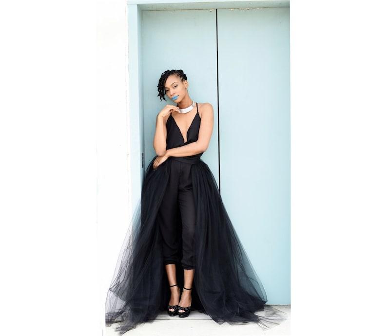 710640b48f Black Tulle Overskirt tulle overlay skirt detachable | Etsy