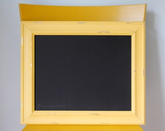Distressed Yellow Framed Chalkboard with Silver Highlights