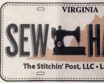 CLEARANCE!! 2017 Row By Row Experience Fabric License Plate for The Stitchin' Post, Lexington, VA