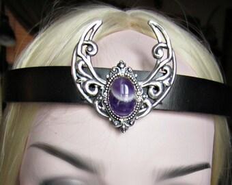 Amethyst Silver Crescent Headpiece, Moonstone Circlet, Black Leather Headband,Unisex