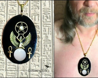 Isis Pendant, Egyptian Pendant, Antique Brass Isis. Black or Brown Leather, Pentacle, Ankhs, Peruvian Pink Opal, Rainbow Moonstone Bead