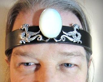 Dragons Leather Headpiece, Large Opalite Center, Headband for Men, Unisex, Burning Man, Ren Fair for Men, Ready to Ship