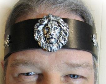 Lion Headpiece, Black Leather, Ren Fair for Men, Wedding for Men, Antique Gold or Silver, Burning Man, Brown Leather