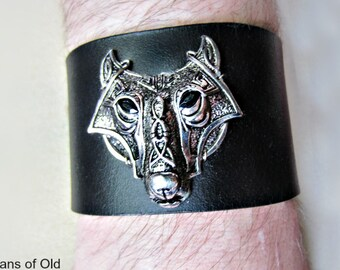 Celtic Wolf, Black Leather Cuff, Brown Leather, Unisex Bracelet, Made to Order