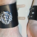 Silver Lion Cuff, Black Leather, 3 Inch Wide Cuff, Unisex Bracelet, Fleur de Lis, Burning Man, Brown Leather, Ren Fair for Men