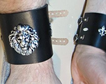 Lion Cuff, Black Leather, Antique Gold or Silver,  Wide Cuff, Unisex Bracelet, Fleur de Lis, Burning Man, Brown Leather, Ren Fair for Men