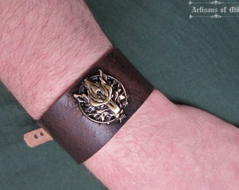 Bronze Wolf Cuff, Brown or Black Leather, Final Fantasy Bracelet, Made to Order